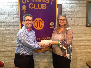 DTOC President Brian Koroknay presents a check to Parent Circle President Tracy Bragg