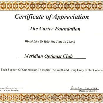Carter Foundation Certificate