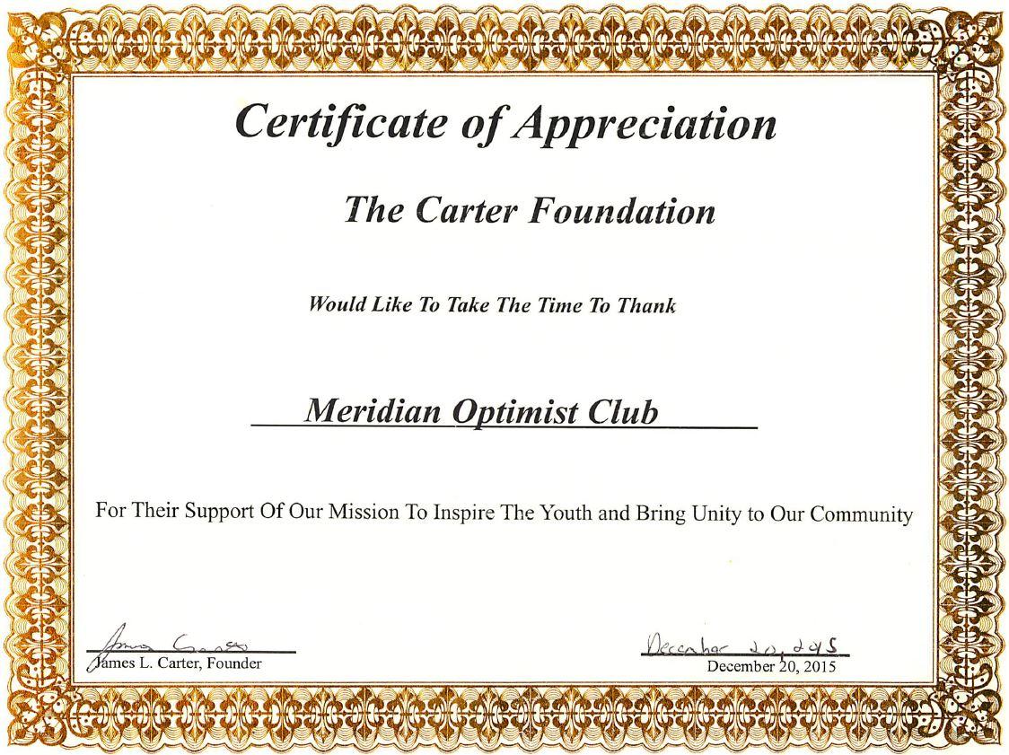 Certificate essay optimist club