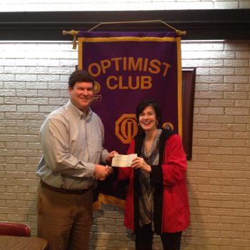 President Daniel Stewart Presents A Check To Stage 2 Director, Susie Johnson