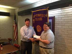 DTOC President Daniel Stewart Presents A Check To Choctaw Area Council Director Ken Kercheval