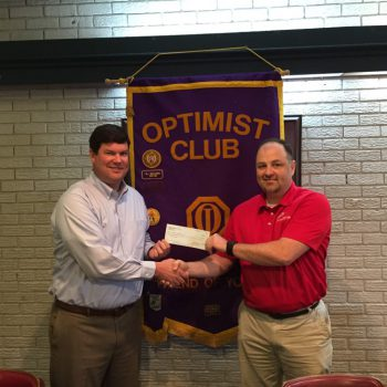President Daniel Stewart Presents A Check To Scout Leader Keven Hedgepeth