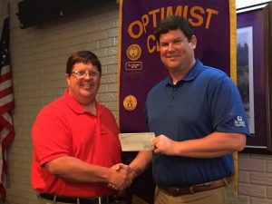 DTOC President Daniel Stewart (right) Presents A Check To Choctaw Area Council Director Ken Kercheval (left)