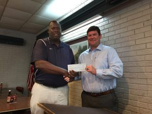 DTOC President Daniel Stewart (r) Presents a check to BGC Director Ricky Hood (l). Photo by Randy Rives