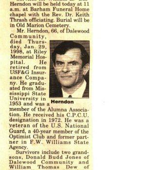 Bill Herndon Obit 1998