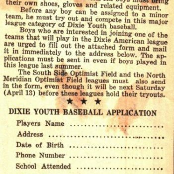 Dixie Youth Application 1968