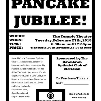 71th Annual Pancake Jublilee Flyer – 2018
