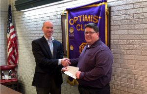 Photo of DTOC President Lee Thaggard (left) Presenting Donations To Choctaw Area Council Director Ken Kercheval (right)